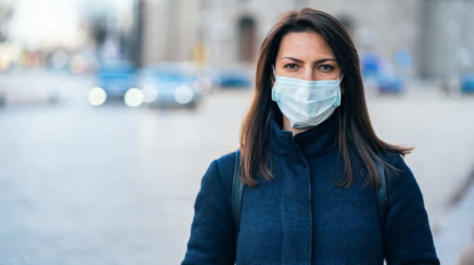 Woman Wearing Protective Facial Mask During COVID-19 Crisis
